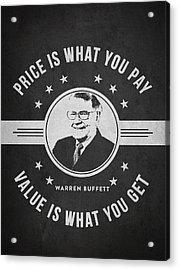Warren Buffet - Charcoal Acrylic Print by Aged Pixel