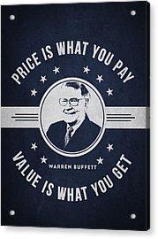 Warren Buffet - Navy Blue Acrylic Print by Aged Pixel