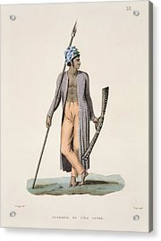 Warrior From The Island Of Guebe Acrylic Print by Jacques Etienne Victor Arago