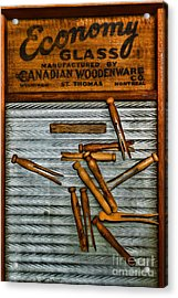 Washboard And Clothes Pins Acrylic Print by Paul Ward