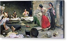 Washerwomen Disputing Acrylic Print by Jose-Jimenes Aranda