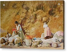 Acrylic Print featuring the painting Washerwomen by Karol Wyckoff
