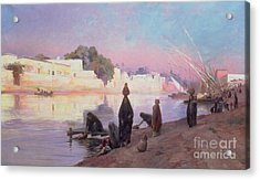 Washerwomen On The Banks Of The Nile Acrylic Print by Eugene Alexis Girardet