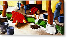 Washing Clothes At Canal Acrylic Print by William Cain