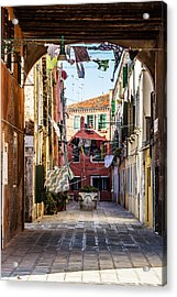 Washing Drying In The Wind In Venice Acrylic Print
