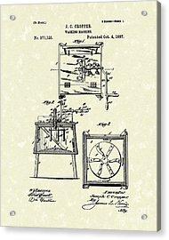 Washing Machine 1887 Patent Art Acrylic Print by Prior Art Design