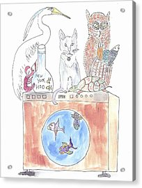Washing Machine Friends Acrylic Print by Helen Holden-Gladsky