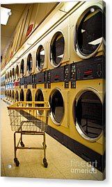 Washing Machines At Laundromat Acrylic Print by Amy Cicconi