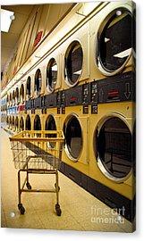 Washing Machines At Laundromat Acrylic Print by Amy Cicconi