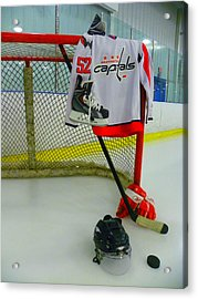 Washington Capitals Mike Green Away Hockey Jersey Acrylic Print by Lisa Wooten