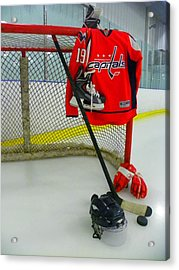 Washington Capitals Nicklas Backstrom Home Hockey Jersey Acrylic Print by Lisa Wooten