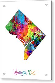 Washington Dc District Of Columbia Map Acrylic Print by Michael Tompsett
