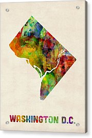 Washington Dc District Of Columbia Watercolor Map Acrylic Print