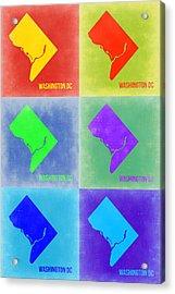Washington Dc Pop Art Map 3 Acrylic Print by Naxart Studio