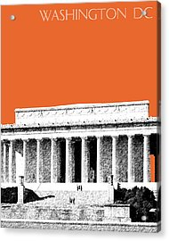 Washington Dc Skyline Lincoln Memorial - Coral Acrylic Print by DB Artist
