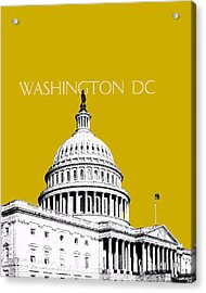 Washington Dc Skyline The Capital Building - Gold Acrylic Print by DB Artist