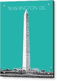 Washington Dc Skyline Washington Monument - Teal Acrylic Print by DB Artist