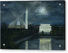 Washington Dc Under Moonlight Acrylic Print by Brandon Hebb