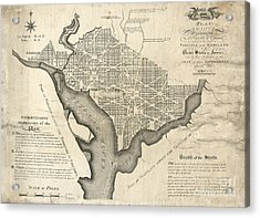 Washington Dc Vintage Map Acrylic Print by Baltzgar