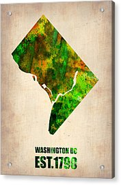 Washington Dc Watercolor Map Acrylic Print by Naxart Studio