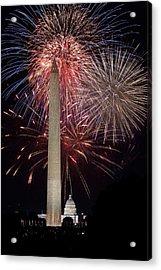 Washington Monument And U.s.capitol Under Fireworks Acrylic Print