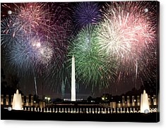 Washington Monument And Wwii Memorial Under Fireworks  Acrylic Print