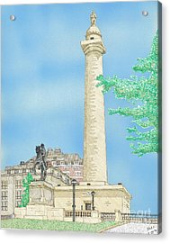 Washington Monument In Baltimore Acrylic Print by Calvert Koerber