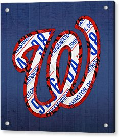 Washington Nationals Vintage Baseball Logo License Plate Art Acrylic Print