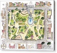 Washington Square Park Map Acrylic Print
