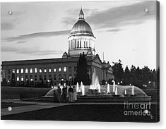 Acrylic Print featuring the photograph Washington State Capitol And Tivoli Fountain At Dusk 1950 by Merle Junk