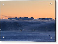 Acrylic Print featuring the photograph Washington State Ferries At Dawn by E Faithe Lester