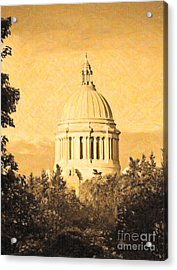 Washington State Legislative Building In Gold Acrylic Print by Susan Parish