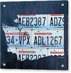 Washington State License Plate Map Art Acrylic Print by Design Turnpike