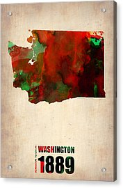 Washington Watercolor Map Acrylic Print by Naxart Studio
