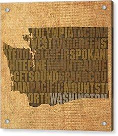 Washington Word Art State Map On Canvas Acrylic Print by Design Turnpike