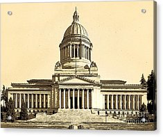 Acrylic Print featuring the photograph Washingtons State Capitol Building Sketch In Sepia by Merle Junk