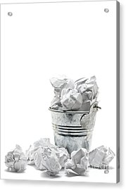 Waste Basket With Crumpled Papers Acrylic Print by Shawn Hempel