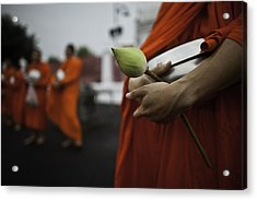 Wat Bencha Gathering Acrylic Print by David Longstreath