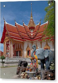 Wat Chalong Wiharn And Elephant Tribute Dthp045 Acrylic Print