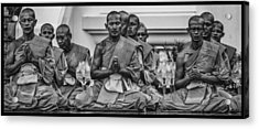Wat Dhamma Monks Prayers Acrylic Print by David Longstreath