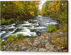 Watching It All Go By  At Beaver's Bend Broken Bow Fall  Foliage Oklahoma Acrylic Print