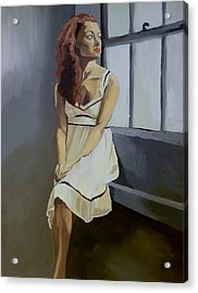 Acrylic Print featuring the painting Watching by Stephen Panoushek