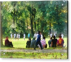 Watching The Soccer Game Acrylic Print by Susan Savad