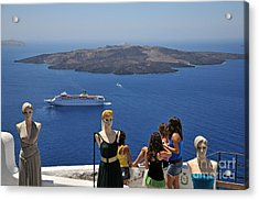 Watching The View In Santorini Island Acrylic Print by George Atsametakis