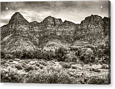 Acrylic Print featuring the photograph Watchman Trail In Sepia - Zion by Tammy Wetzel