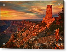 Watchtower Sunset Acrylic Print by Priscilla Burgers