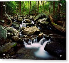 Water Cascading Over Rocks, Leconte Acrylic Print
