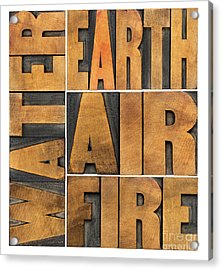 Water Earth Air And Fire Acrylic Print by Marek Uliasz