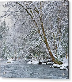 Water Flowing In A River With Snow Acrylic Print