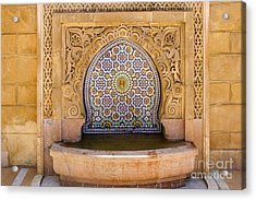 Acrylic Print featuring the photograph Water Fountain Mausoleum Of Mohammed V Opposite Hassan Tower Rabat Morocco  by Ralph A  Ledergerber-Photography
